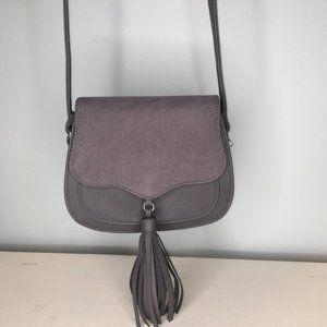 Aeropostale Grey Saddle Bag with Tassel Faux Suede